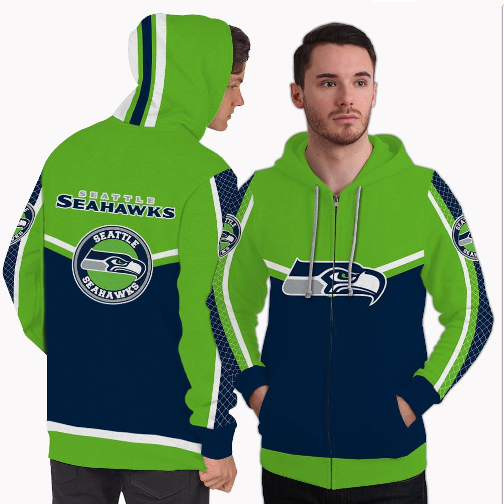 Strong Gorgeous Fitting Seattle Seahawks Zip Hoodie