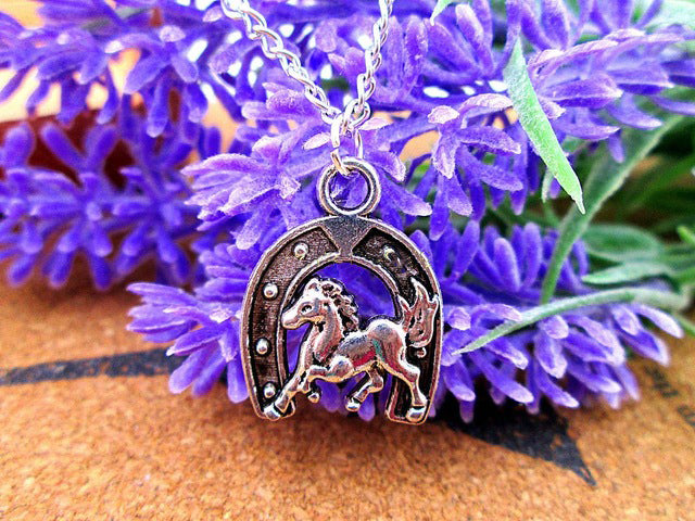 Horseshoe Antique Tibetan Silver Horse Running Necklaces