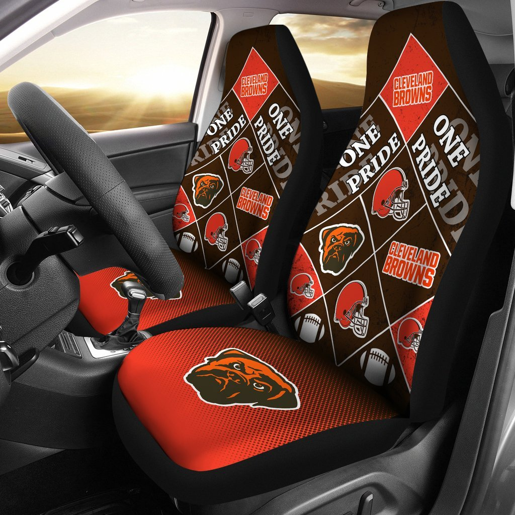 Pride Flag of Pro Cleveland Browns Car Seat Covers