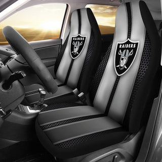 Incredible Line Pattern Oakland Raiders Logo Car Seat Covers