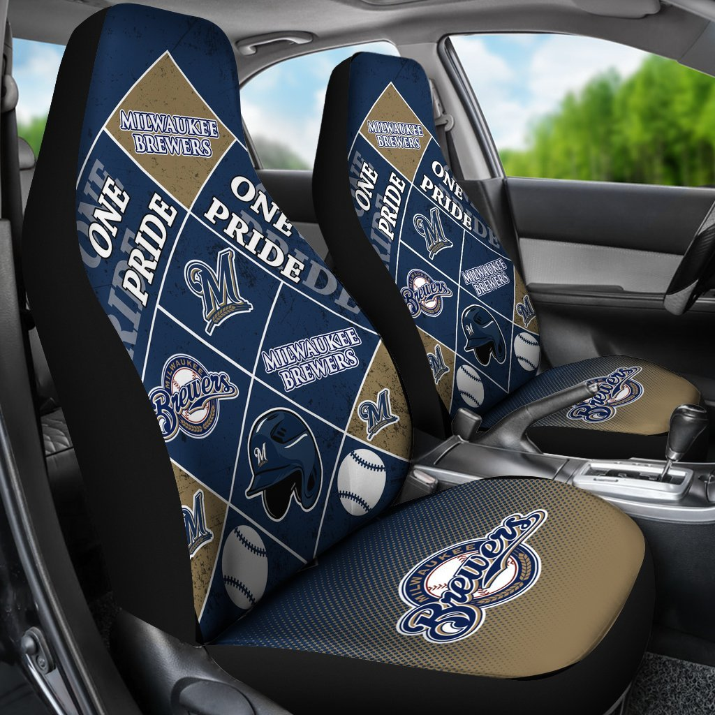 Pride Flag of Pro Milwaukee Brewers Car Seat Covers