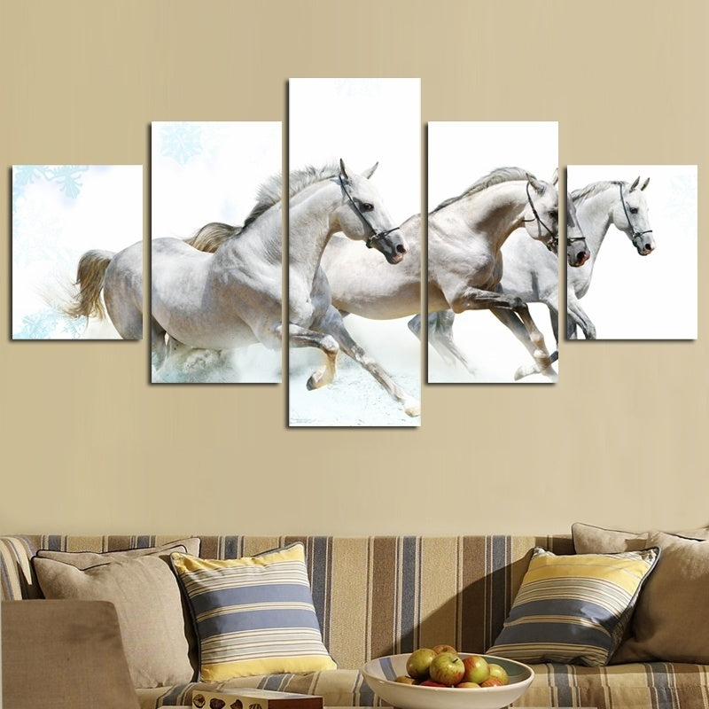 HD Canvas Prints Home Decor Wall Art Painting White Running Horse ...