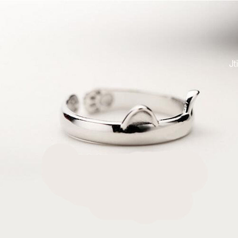 Silver Plated Cute Cat Ear Rings