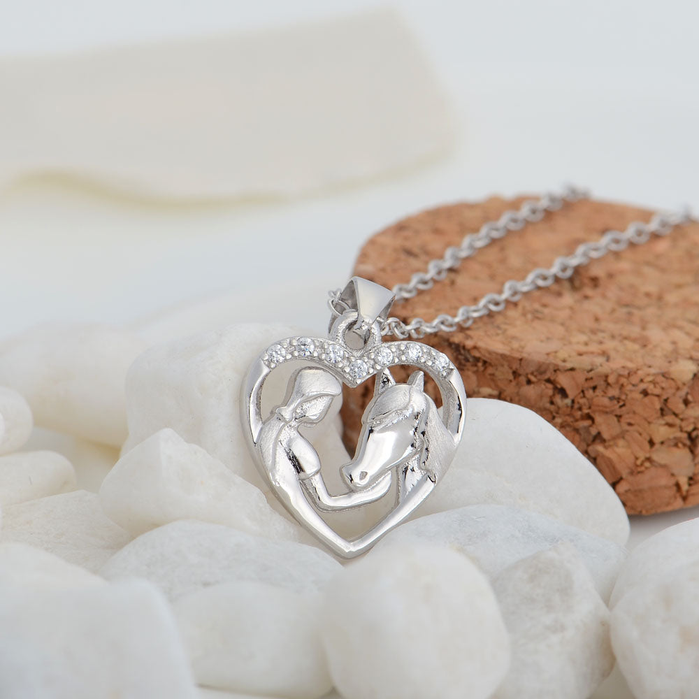 Cubic Zirconia Heart Girl And Horse Head Necklaces