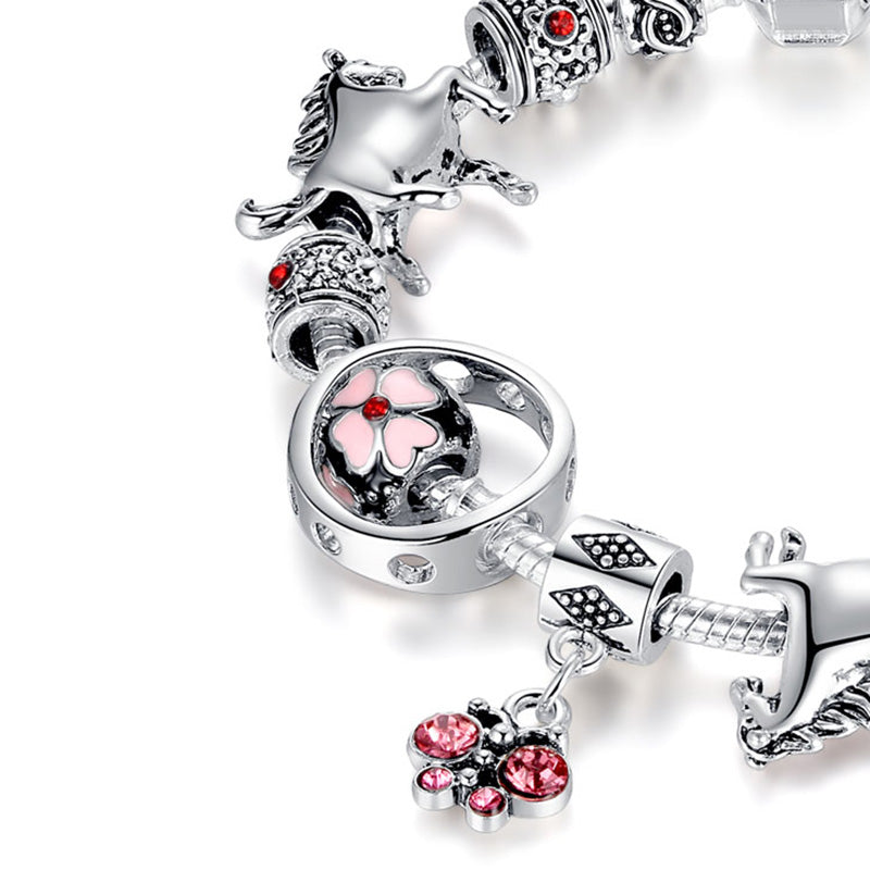 Crystal Butterfly And Pink Cherry Blossom Horse Bracelets