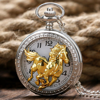 Silver Hollow Gold Horse Quartz Pocket Watch Necklaces
