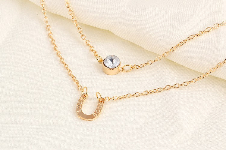 Good Luck Crystal Horse Hoof Multi Layer Necklaces