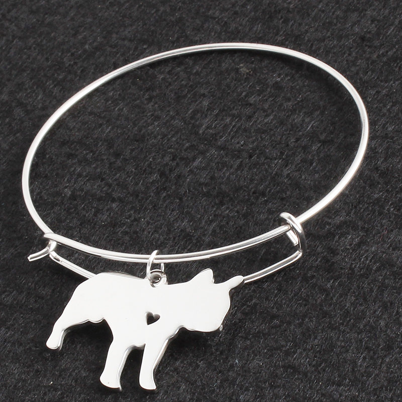 Silver French Bulldog Dog & Heart Bracelets