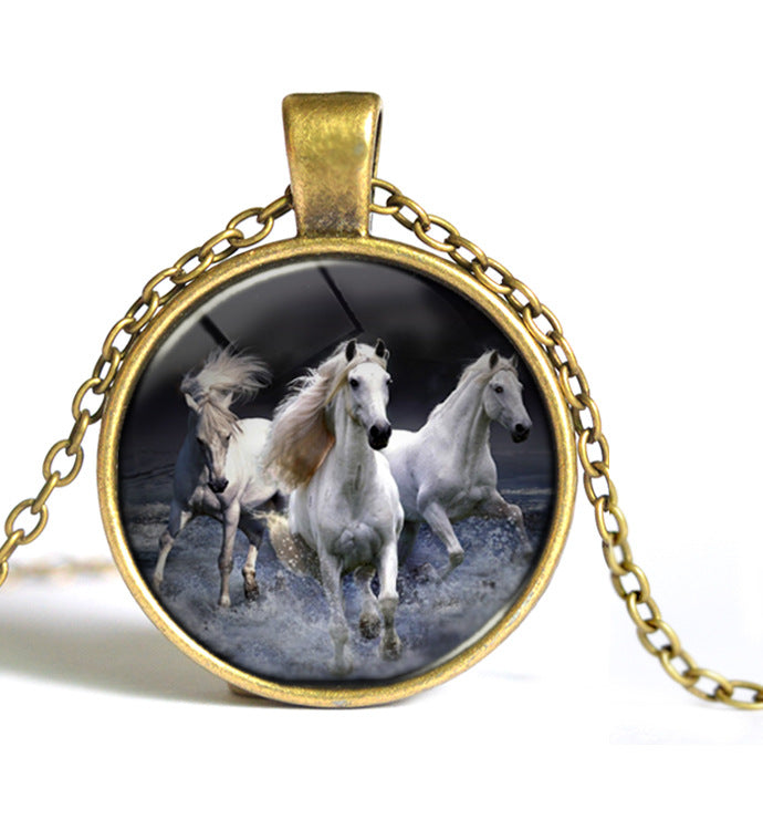 Three White Horse Running Glass Necklaces