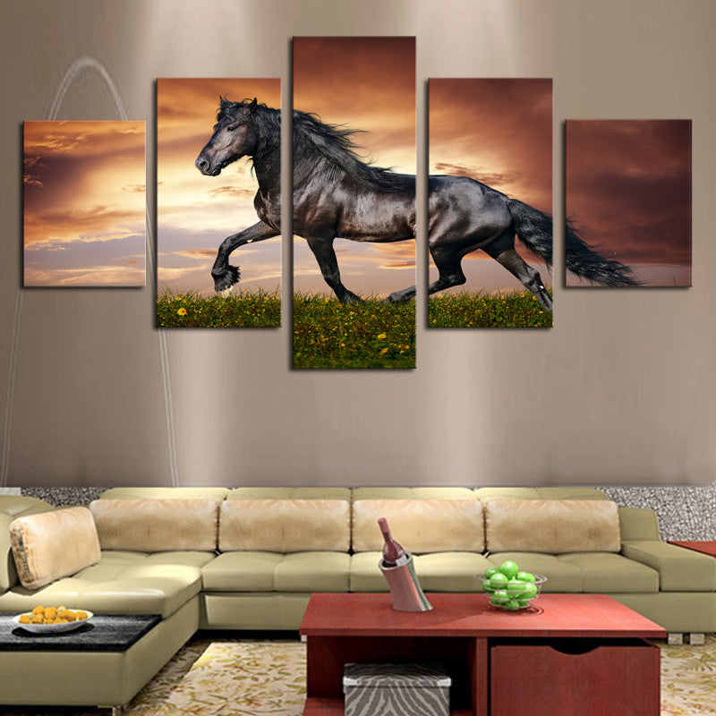 5 Pcs Large HD Black Horse On The Grass Canvas Print Unframed