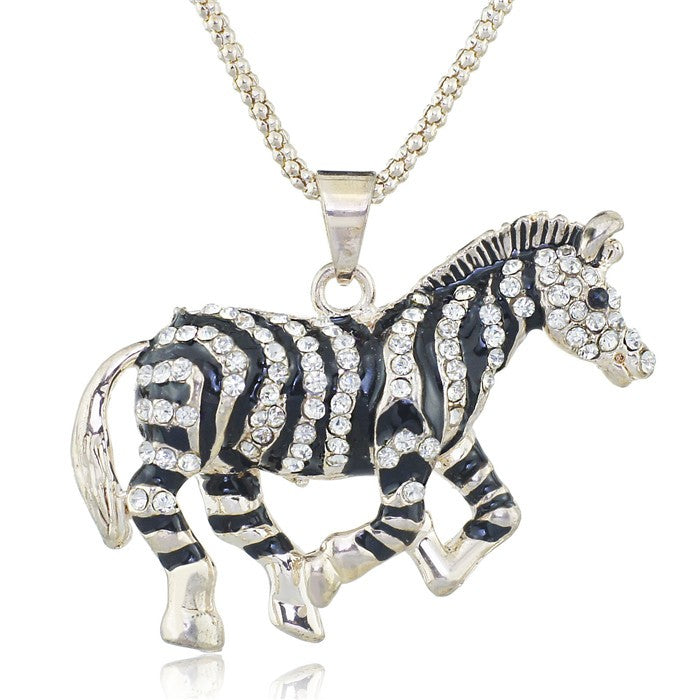 Crystal Gold Pretty Black Zebra Horse Running Necklaces