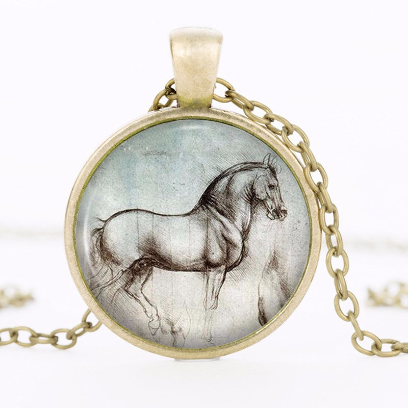 Vintage Horse Statement Gothic Glass Cabochon Tibetan Silver Chain Necklaces