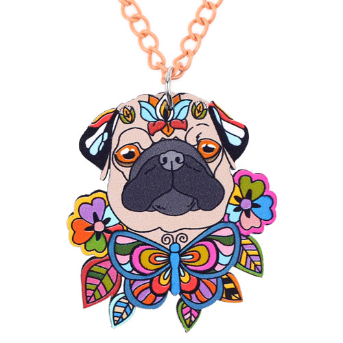 Colorful Pug Dog Head Necklaces