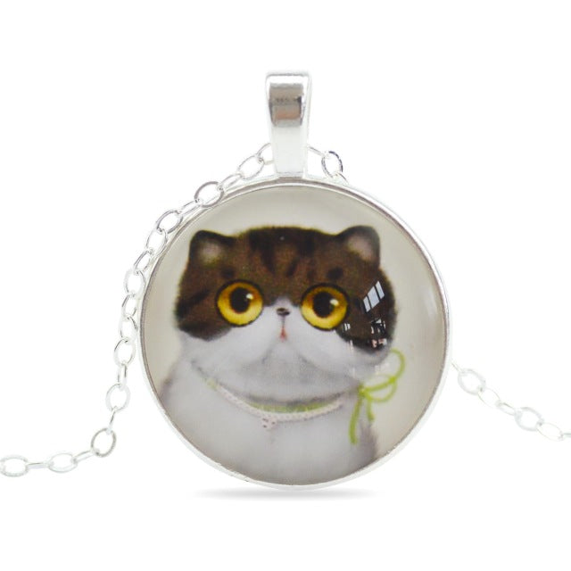 Cute Cat Silver Color Glass Cabochon Necklaces
