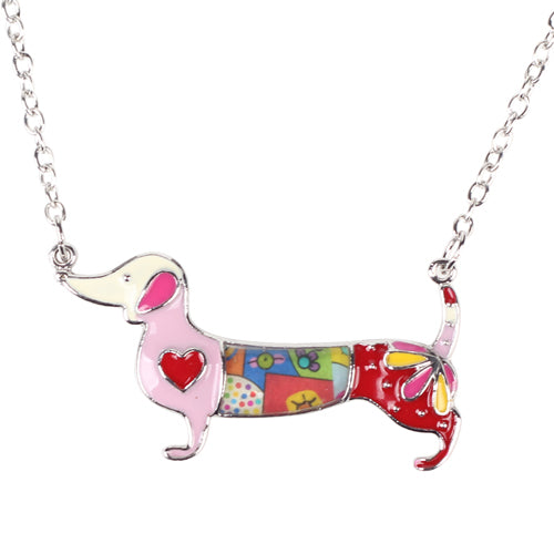 Metal Alloy Enamel Dachshund Dog Necklaces