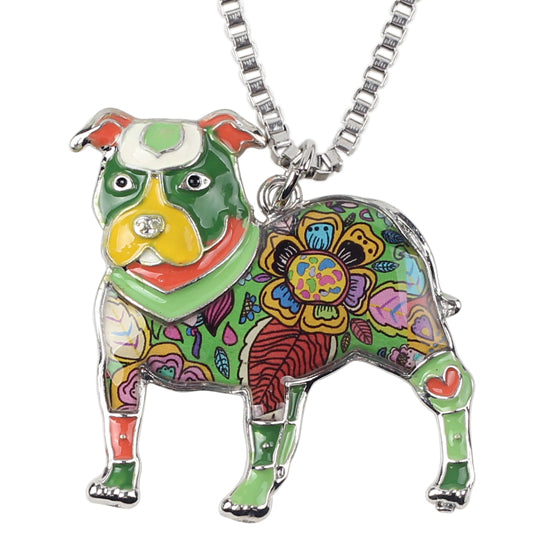 Enamel Pit Bull Buster Dog Necklaces
