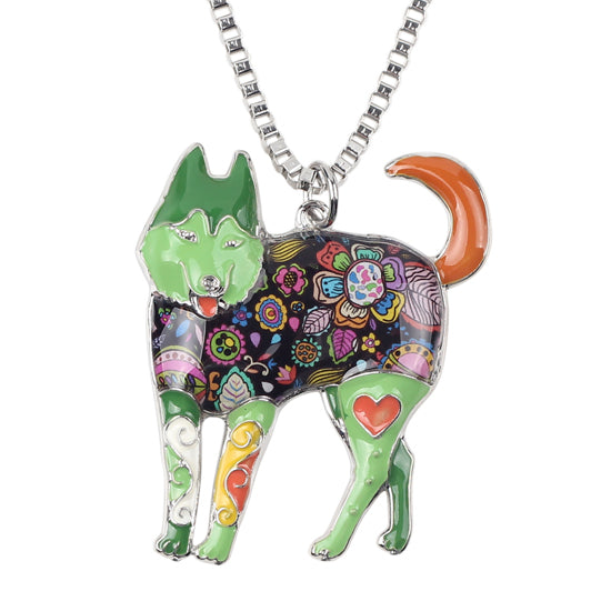 Enamel Siberian Husky Dog Necklaces