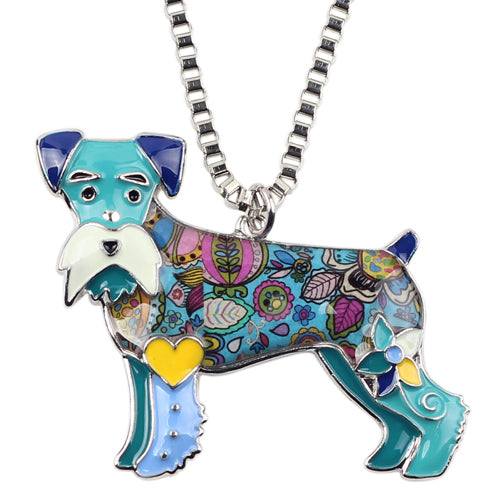 Statement Alloy Enamel Miniature Schnauzer Dog Necklaces