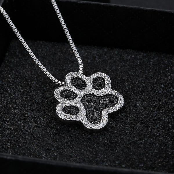Dog Paw Crystal Rhinestone Necklaces