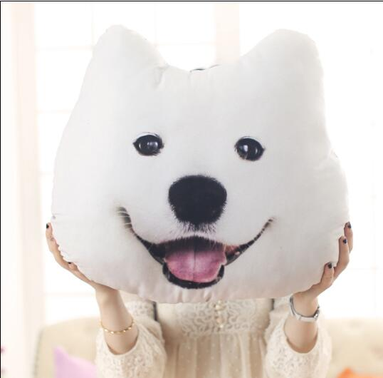 New Hot 3D 38cm*35cm Samoyed Husky Dog Plush Toys Dolls Stuffed Animal Pillows