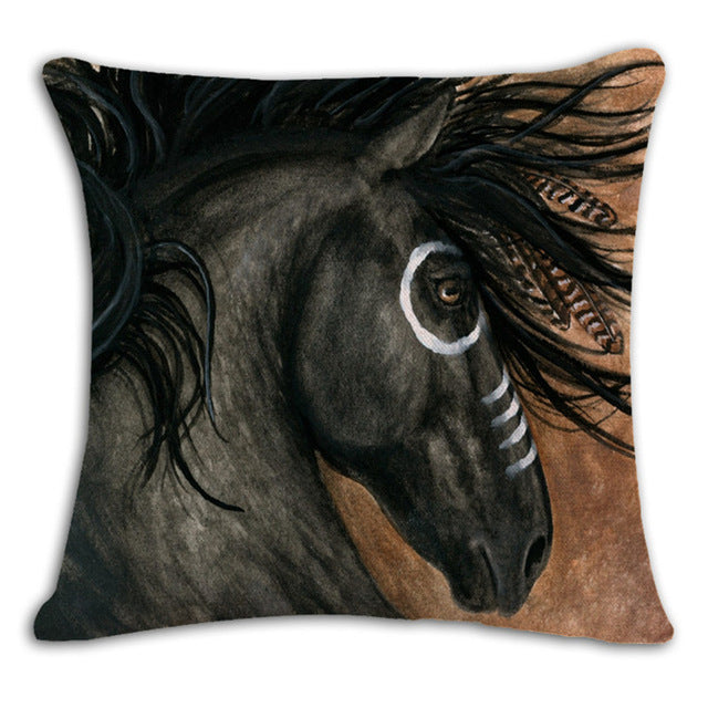 Square Horse Printed Cushion Cover Vintage Pillow Covers