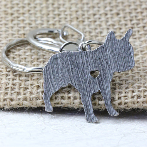 Silver French Bulldog Luxury Holder Keyring