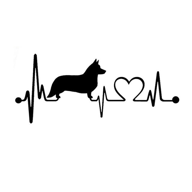 Cardigan Welsh Corgi Dog Heartbeat Stickers