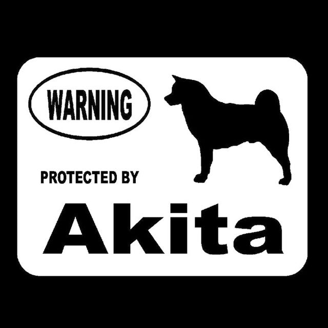 Warning Protected By Akita Cute Funny Dog Stickers