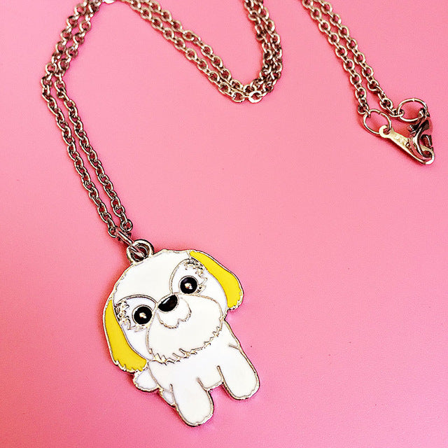 Silver Lover Cute Shih Tzu Dog Necklaces & Bracelets