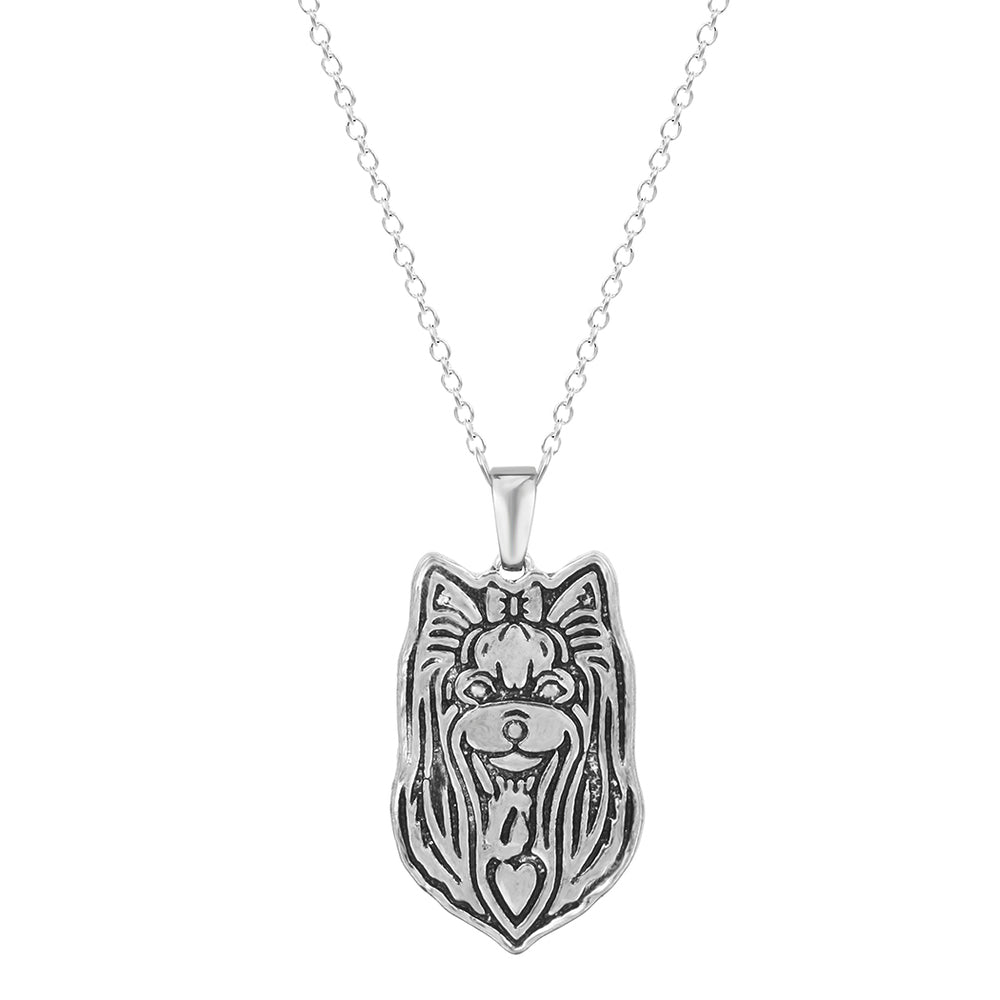 Long-hair Yorkshire Terrier Dog Head Necklaces