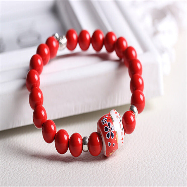 Porcelain Natural Bead Lucky Cat Ceramic Bracelets
