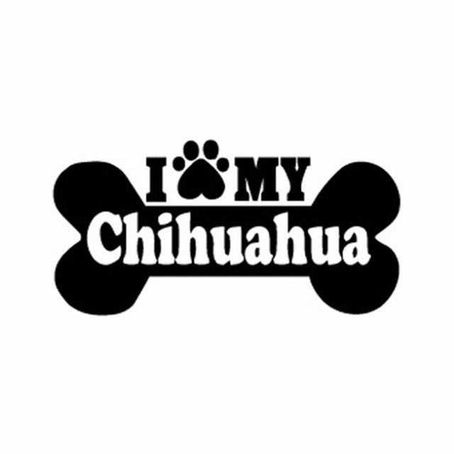 """I Love My Chihuahua"" Dog Paw Stickers"