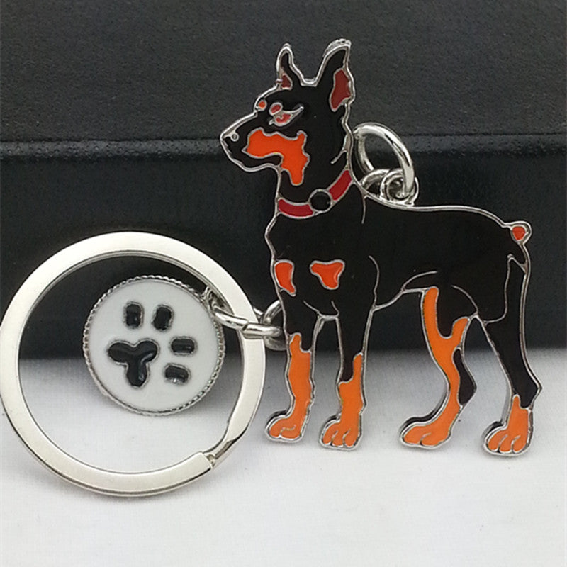 Doberman Pinscher White Dog Paw Keychains