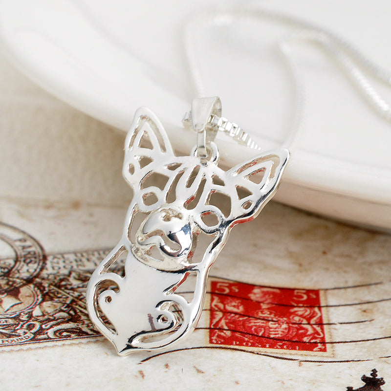 Silver Plated Chihuahua Dog Lover Hollow Necklaces