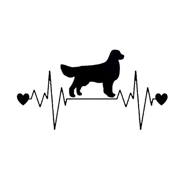 Golden Retriever Heartbeat Lifeline Dog Decal Car Stickers
