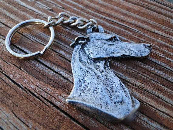 Metal Greyhound Dog Head Keychains