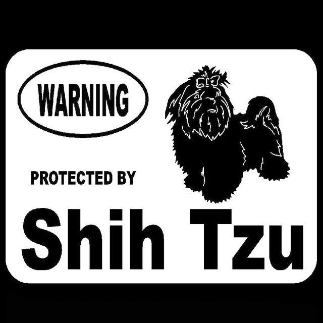 """Warning Protected By Shih Tzu"" Dog Stickers"