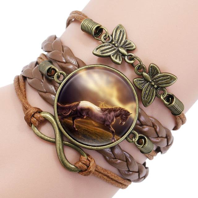 Vintage Horse Picture Bronze Leather Butterfly Charms Bracelet