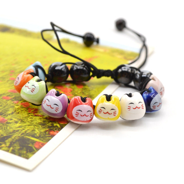 Handmade Cute Ceramic Lucky Cat Face Beaded Bracelets