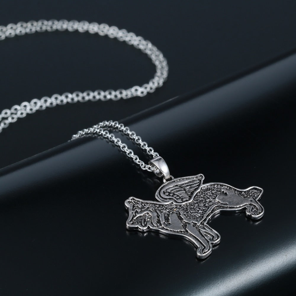 Silver Plated German Shepherd Angel Dog Wings Necklaces