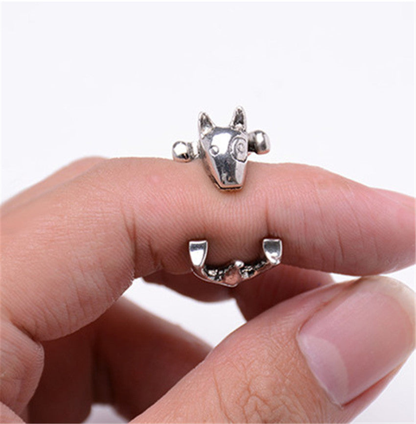 Retro Bull Terrier Dog Rings