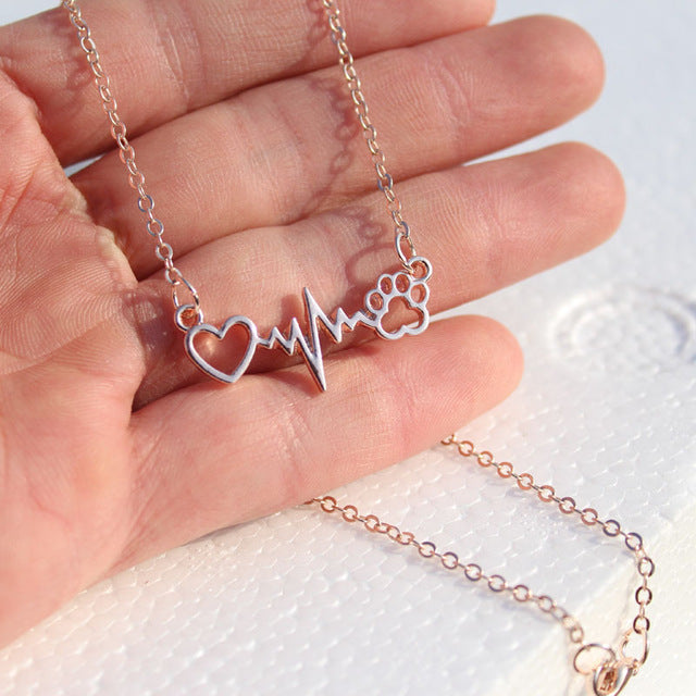 Vintage Dog Paws And Heart Heartbeat Necklaces