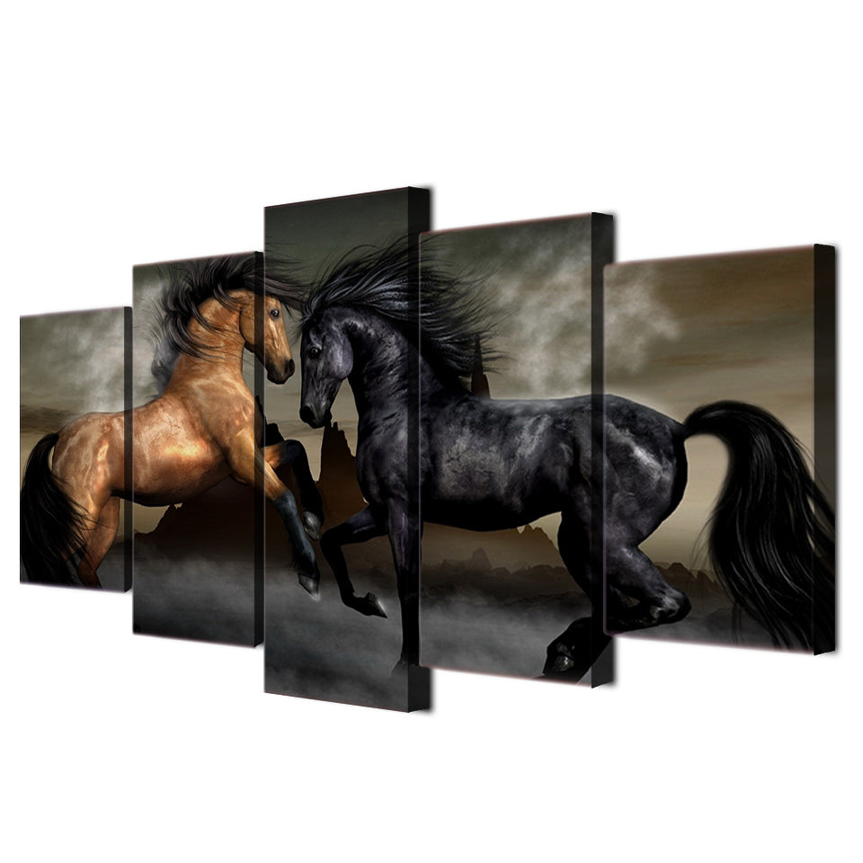 Canvas Art Black Brown Horse Painting Wall Pictures