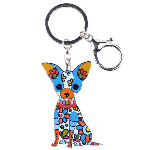 Colorful Chihuahua Dog Keychains