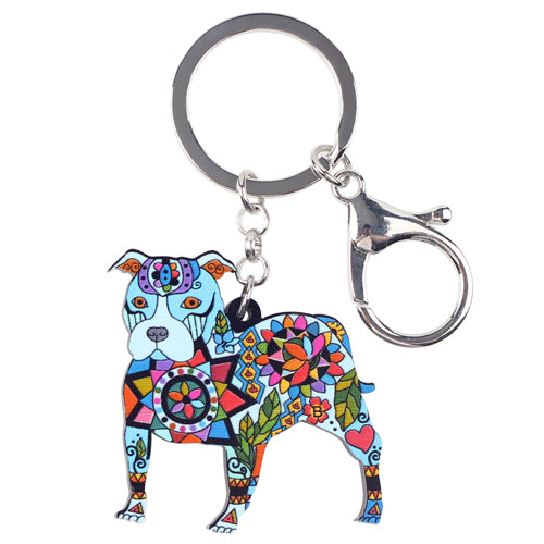 Colorful Pit bull Dog Keychains