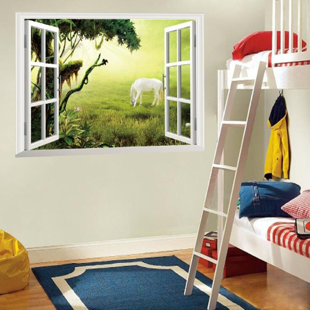 3D Window Grassland White Horse Wall Stickers