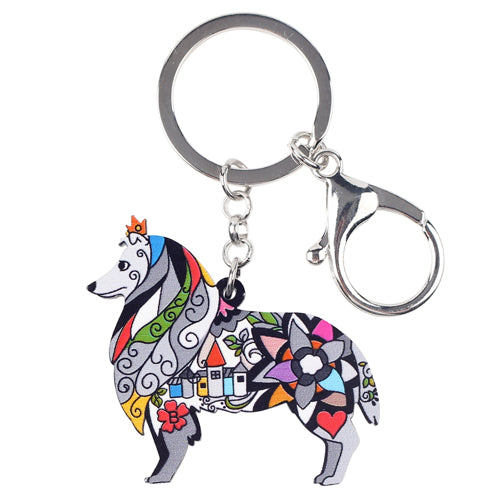 Acrylic Border Rough Collie Dog Keychains