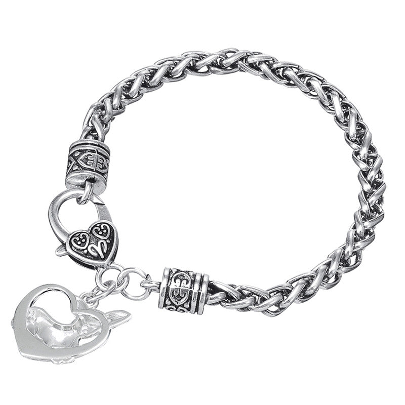 Heart Shaped Metal Rhodium Plated Chihuahua Bracelets