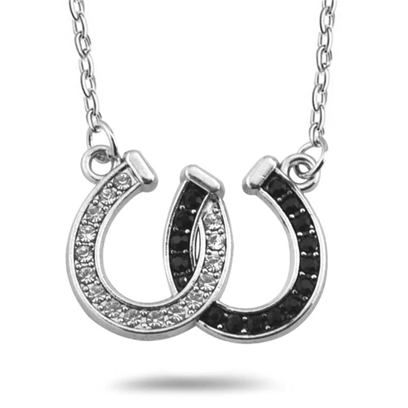 Black&White Double Horseshoe Crystal Necklaces