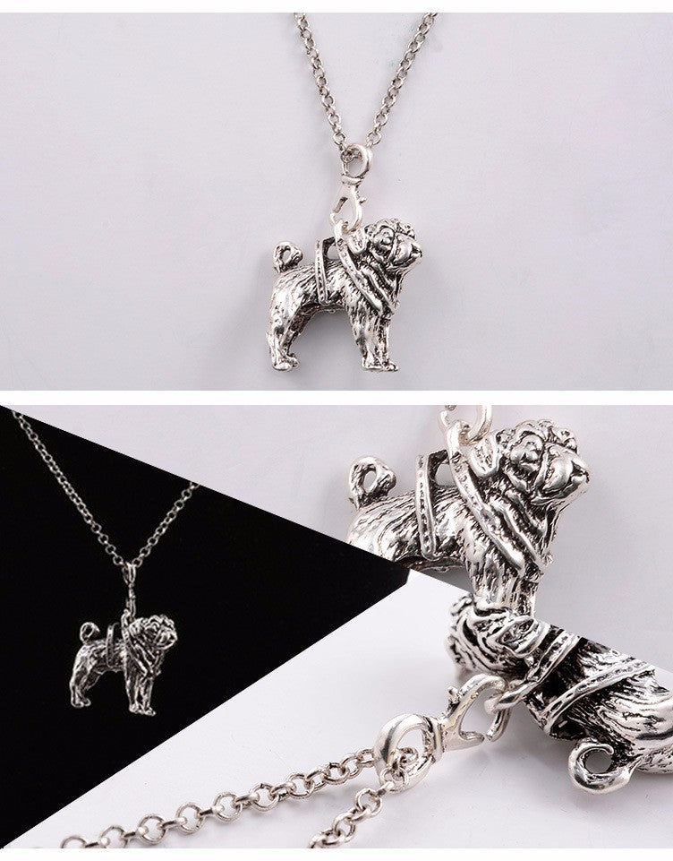Vintage Cute Pug Dog Necklaces